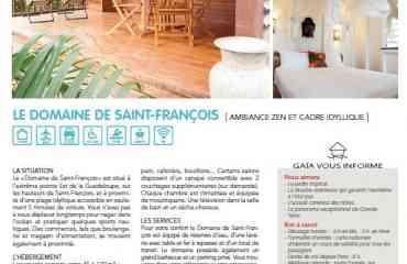 RESIDENCE DOMAINE SAINT FRANCOIS - Le Domaine de Saint François est situé à l'extrême pointe Est de la Guadeloupe, sur les hauteurs de Saint François, à proximité d'une plage idyllique accessible en seulement 5 minutes en voiture. Vous n'avez pas à vous déplacer longtemps pour nager dans l'océan et pratiquer quelques sports nautiques. Des commerces, tels que boulangerie et magasin d'alimentation, se trouvent également à proximité. La résidence est un ensemble de bungalows et d'appartements compris entre 45 à 120 m2. Pour vous rafraîchir et vous relaxer on vous propose une grande piscine au coeur du jardin tropical.