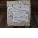 Puzzle 13 régions artisanal en bois - <p>Composé de 13 pièces, sur chacune d'entre elles, on retrouve:</p> <p>· Le nom de la région au 2 Janvier 2016</p> <p>· le tracage des départements de ces régions</p> <p>Il est conçu de manière à ce que n'importe qui, de 7 à … 700 ans, puisse, avec l'aide d'un dictionnaire, agenda, …, refaire celui ci dans sa totalité</p>