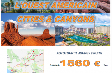Autotour dans l'OUEST des USA - Los Angeles, Grand Canyon, Lake Powell, Monument Valley, Bryce Canyon, Las Vegas