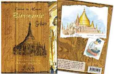 Carnet de route Birmanie - Réalisé lors d'un voyage seul de 3 semaines en 2006, le carnet de route de Philippe BICHON nous offre un regard sur ce pays au-delà des clichés.  Dans une édition très fidèle au carnet de voyage original, l'auteur-illustrateur partage son voyage. La spontanéité de ses croquis, aquarelles, récit et témoignages écrits en différents alphabets de la main des personnes rencontrées, transporte aussitôt le lecteur sur ses pas.  Ce livre est une invitation à partir en Birmanie ou vous fera revivre un voyage passé, autrement.  «On n'est pas dans un de ces beaux livres sur papier glacé à la maquette et au calibrage professionnels, mais bien dans le carnet de route encore plein de sable d'un amoureux du voyage ; un ami qui vous aurait prêté pour un temps ses précieuses notes, uniques et personnelles». Libération – nov. 2014