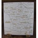 Puzzle 13 régions artisanal en bois - <p>Composé de 13 pièces, sur chacune d'entre elles, on retrouve:</p> <p>· Le nom de la région au 28 Septembre 2016</p> <p>· le tracage des départements de ces régions</p> <p>Il est conçu de manière à ce que n'importe qui, de 7 à … 700 ans, puisse, avec l'aide d'un dictionnaire, agenda, …, refaire celui ci dans sa totalité</p>