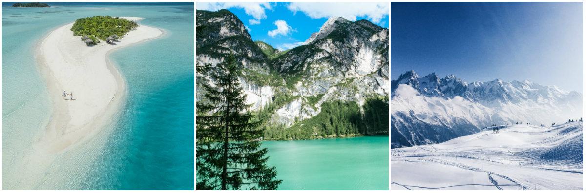 Photo collage ile, lac et montagne